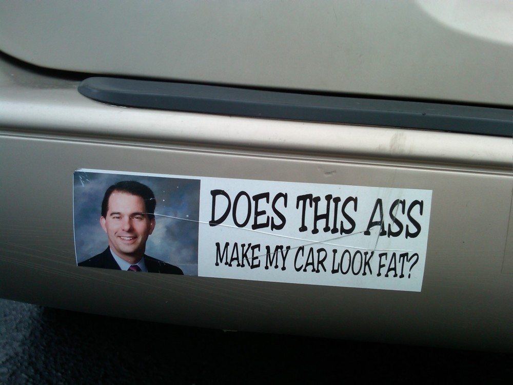 Bumper sticker in a Wisconsin restaurant parking lot