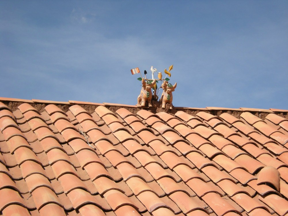 Decorated bulls are placed on top of houses in rural areas as a symbol of good luck.
