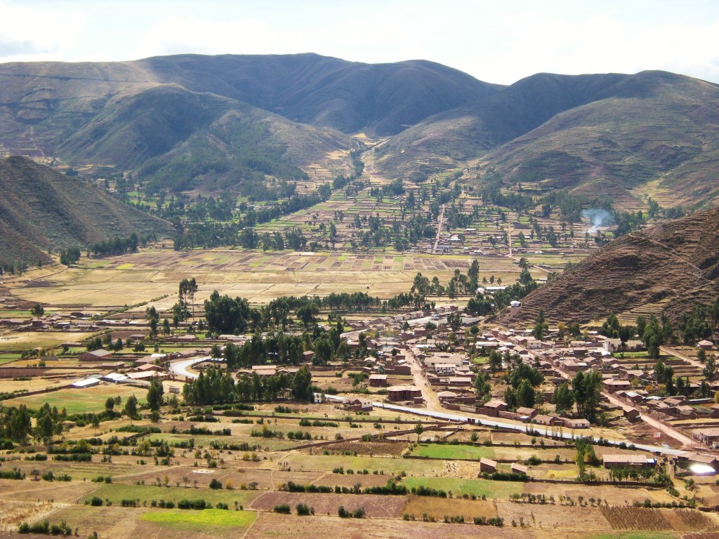 A rural town; note the terrace-type agriculture still in use on the hillsides at right.