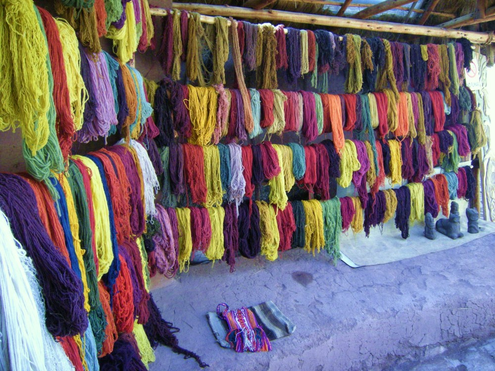 Dyed skeins of alpaca & llama wool
