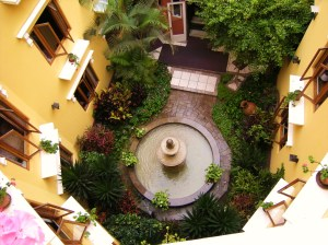 Looking down at the interior courtyard from above.