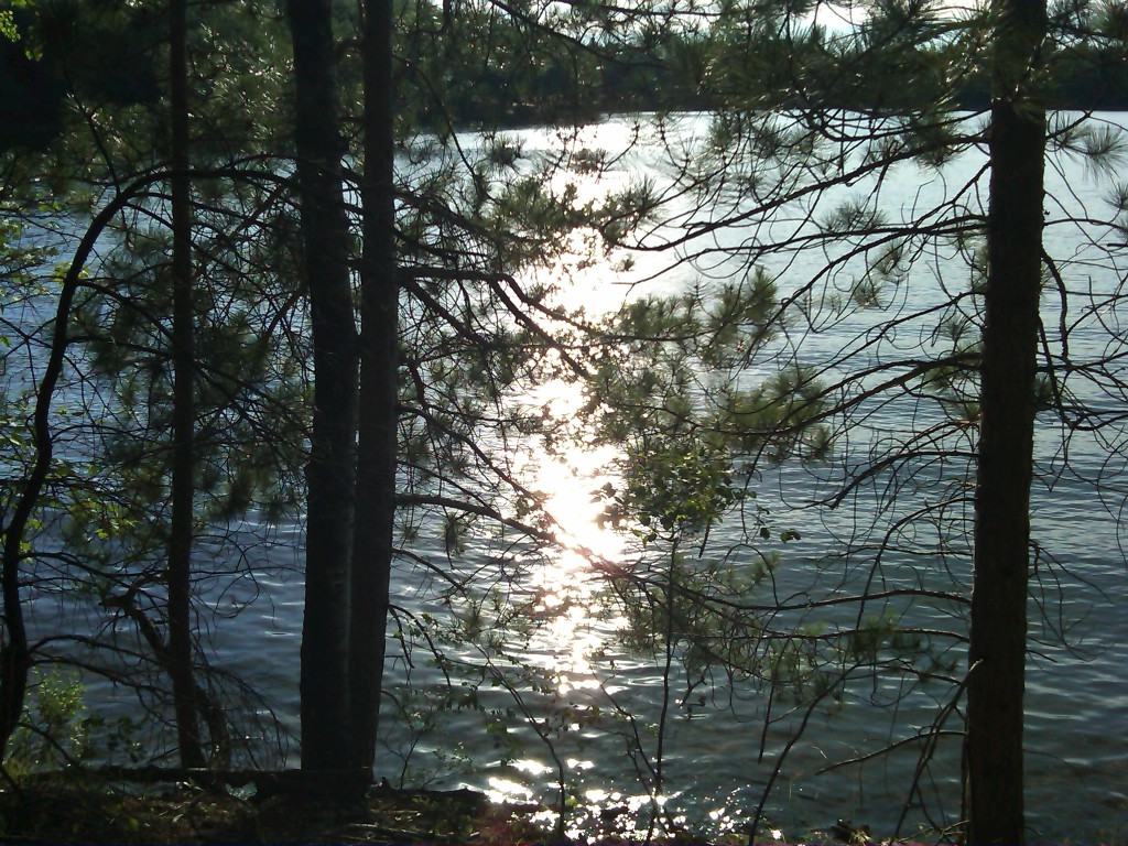Late afternoon sunlight glitters on South Blue Lake (Bearskin Trail, Wisconsin)
