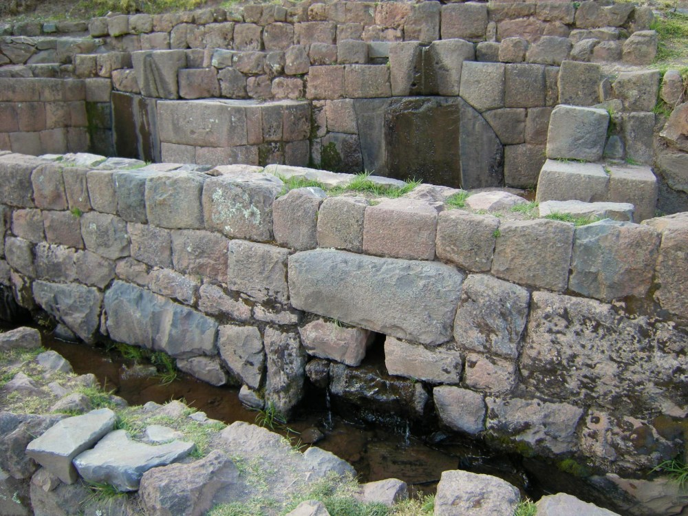 Aqueducts and fountains carried water to the crops. Note use of rectangular stonework in this area.