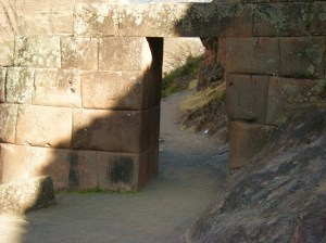 Trapezoid doorway with overhead lintel in classic Inca style.