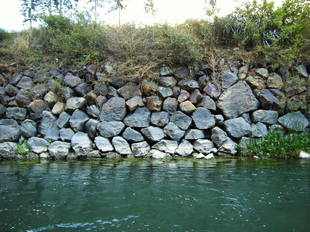 Original retaining wall built by Incas along the embankment