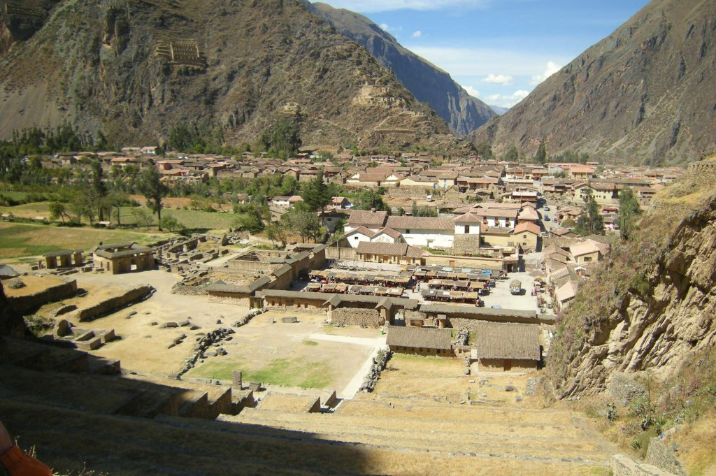 Town of Ollantaytambo as seen from terraces