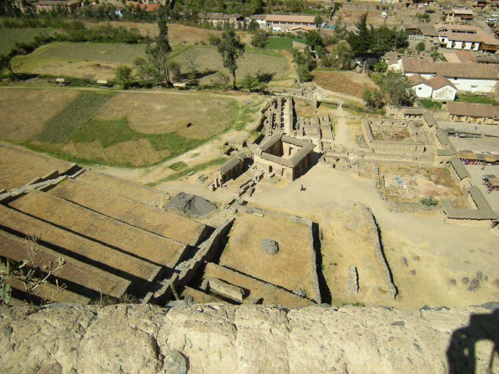 Ollantaytambo view from the top (note the stairway between the terraces!)