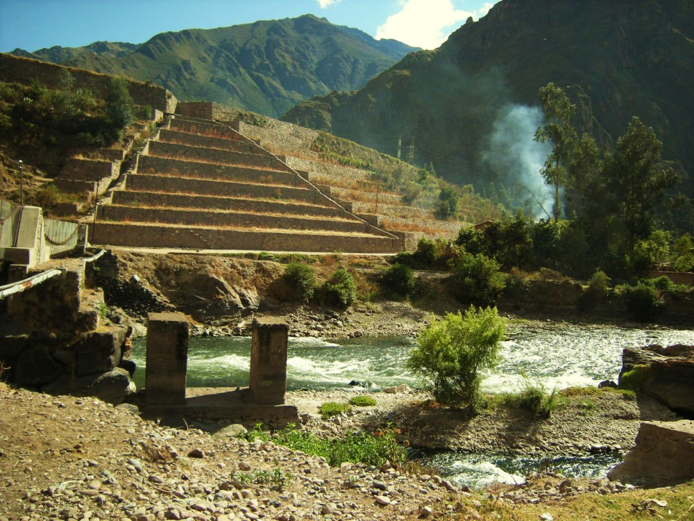 Inca terraces & bridge foundation
