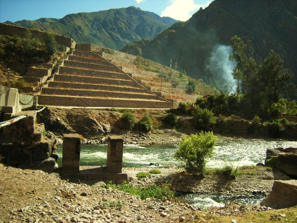 Inca terraces & bridge foundation