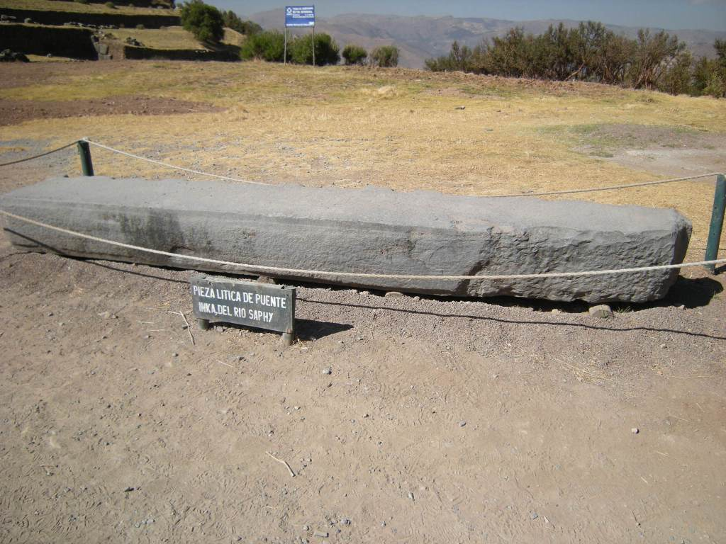 As you approach the main site, you see this roped off rock used in an Inca bridge over the Saphy River.