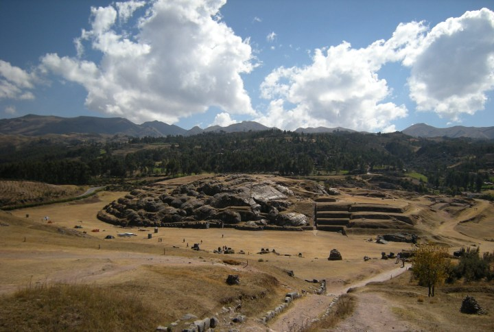 Example of how the Incas used natural stone formations for their purposes: a stairway can be seen at right, and terraced area on the far left.