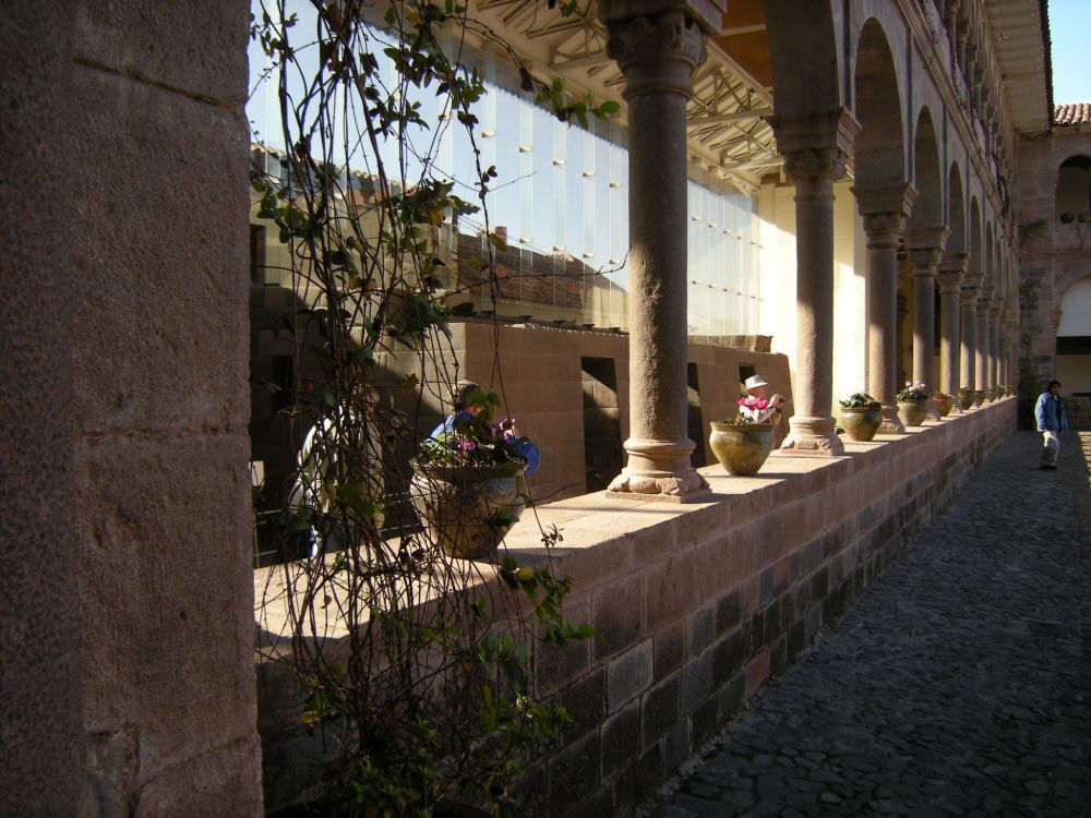 Morning sun on the arches of the convent, showing the Inca temple inside.