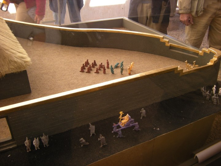 Diorama showing Cusco life during Inca times. Note the king being carried on his litter.