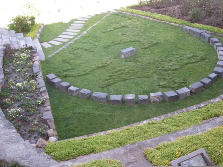 The three sacred animals of the Inca (condor, puma and snake) have been mowed into this space.