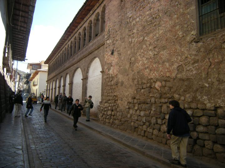 Typical Cusco street with a fusion of colonial Spanish and Inca elements.