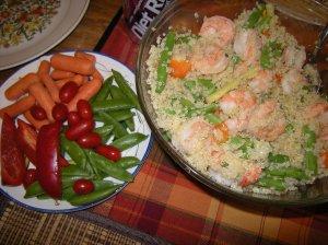 quinoa with shrimp & beans, plate of colorful raw veggies