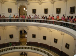 Supporters of Wendy Davis's filibuster wait in line to get into the Senate chamber.