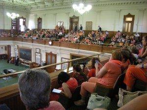 Sen. Davis's supporters, most wearing orange.