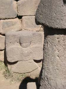 This little angel is embedded in a rock behind one of the phallic stones. My guess is it was added after the conquest, not by the Inca.