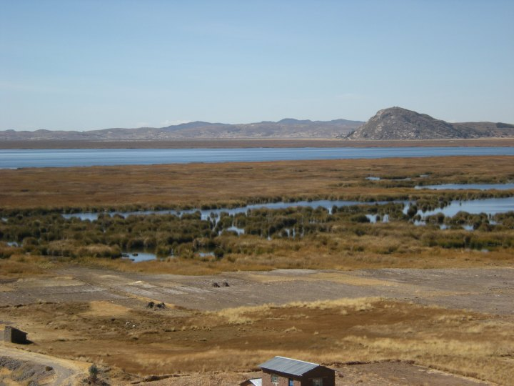 View of Lake Titicaca along the road near the carved heads.