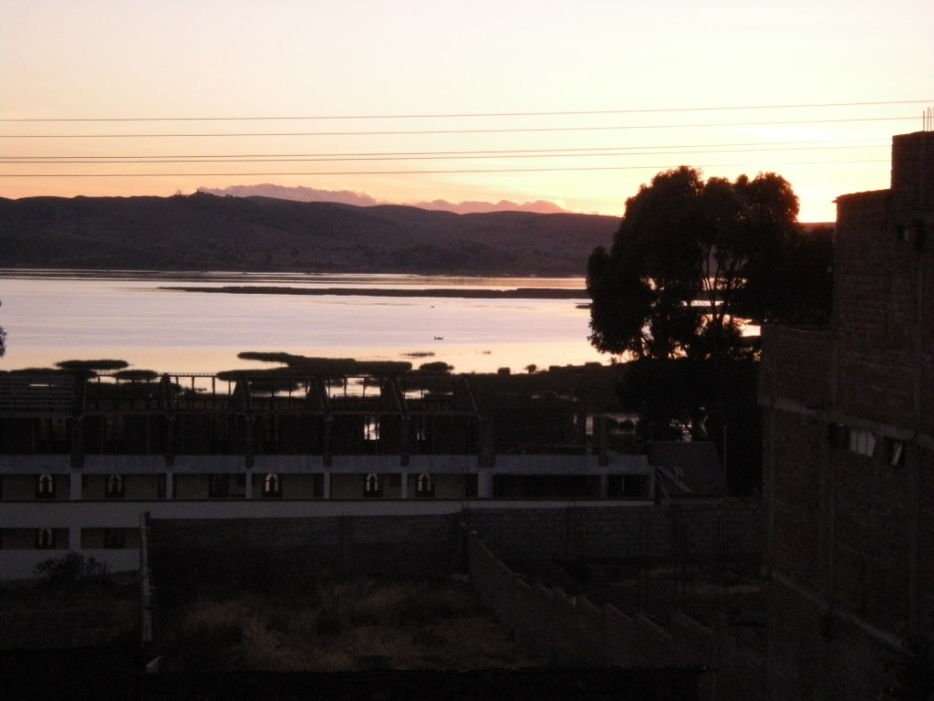 Sunrise over the lake, as seen from our hotel room window.