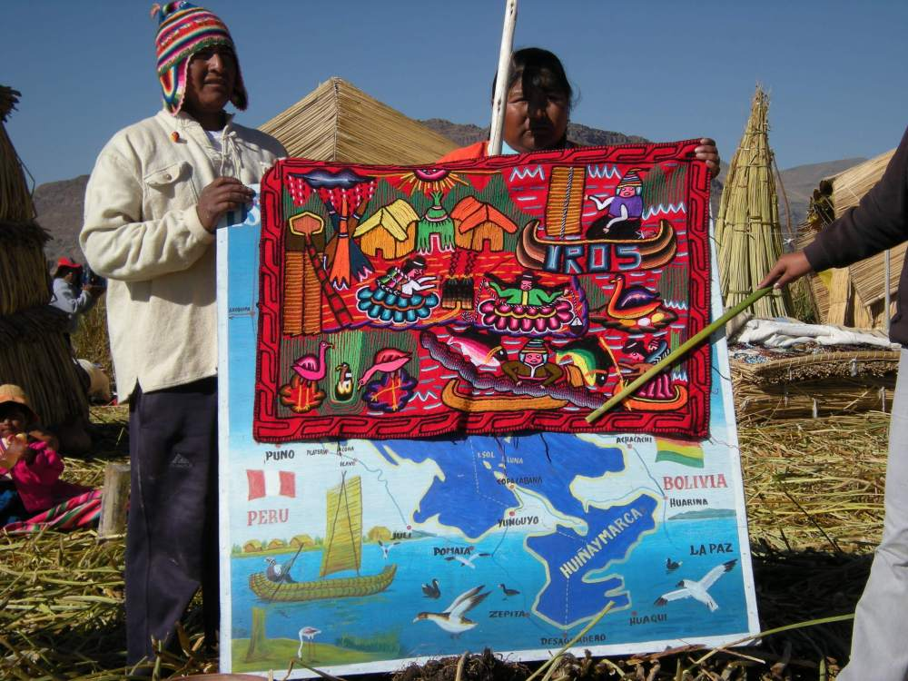 This colorful embroidered panel shows life on Uros.