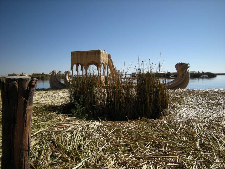 Every island has a reed boat. (In the tall reeds is where people go to relieve themselves).