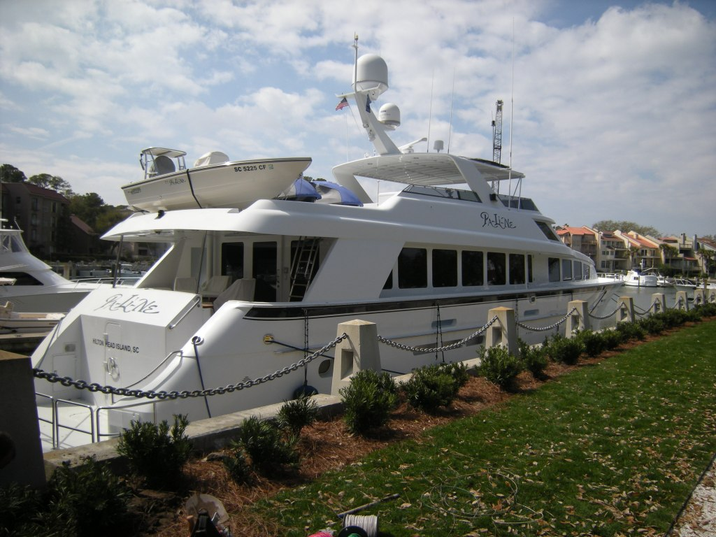 This yacht is fully equipped with water sports equipment: a small motor/fishing boat, Jetskis, also a heliport!