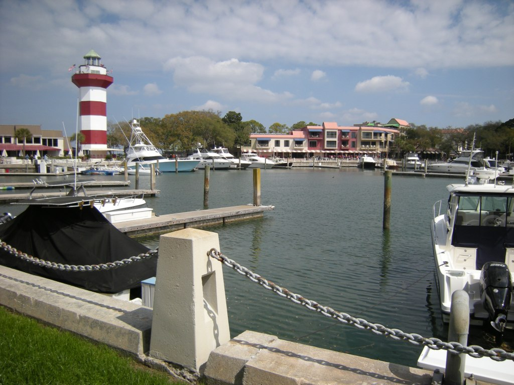 View of lighthouse and circular marina, Harbor Town, HHI