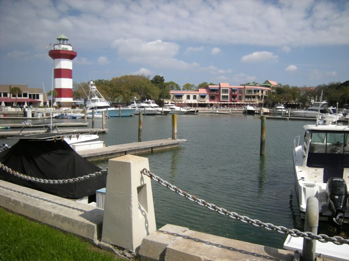 View of lighthouse and circular marina, Harbor Town, HHI