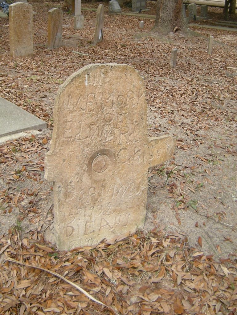 Some of the gravestones were hand carved like this one.
