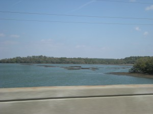 View from car window as we drove across intracoastal waters.