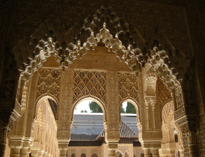 Beautiful arched windows, La Alhambra, Granada, Spain