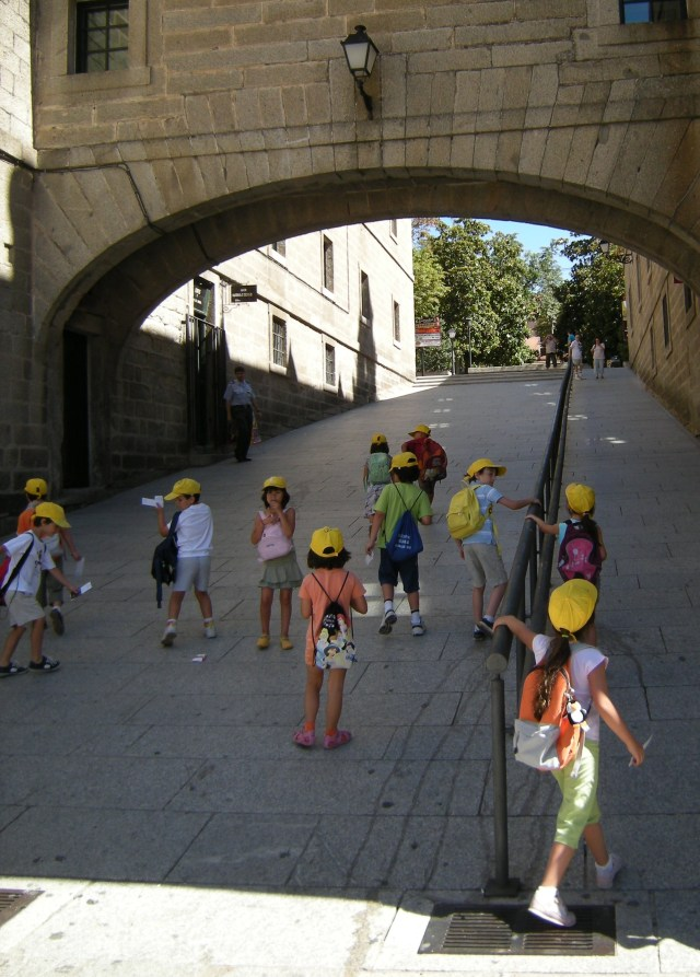 School children on their way home, in El Escorial, Spain