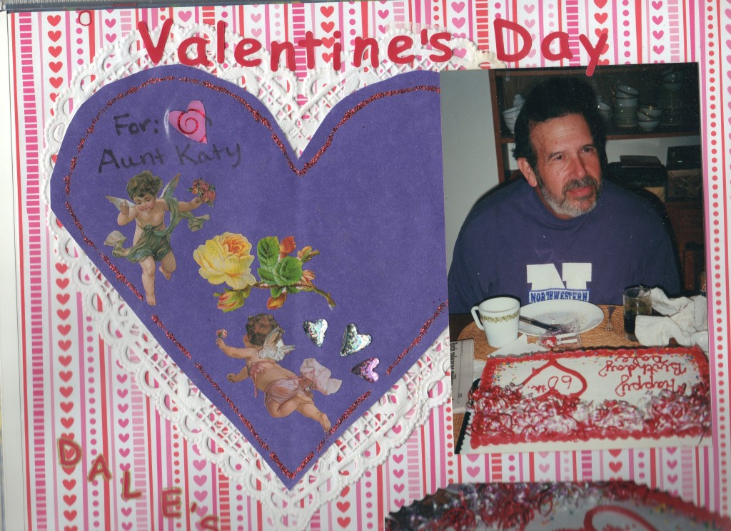 Dale with his birthday cake on his 60th birthday. On the left is a homemade valentine from my niece, Betsy.