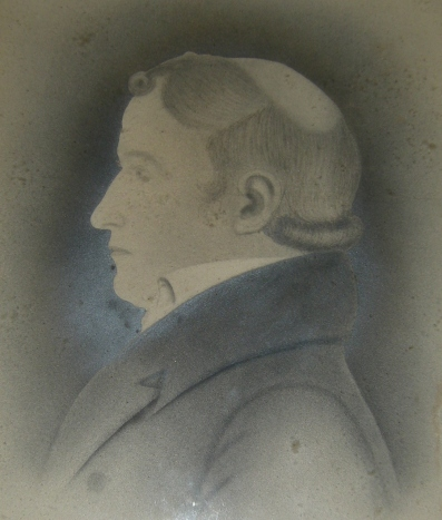 Thomas Thomas, drawing by his son, Thomas E. Thomas. This is the only known portrait of him.
