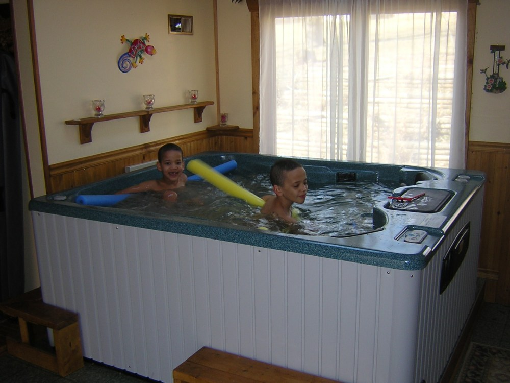 Sweet siblings (my nephew Rob's sons), Jordan (age 10) and Joshua (age 6) in the hot tub at their house in Indiana, 2008