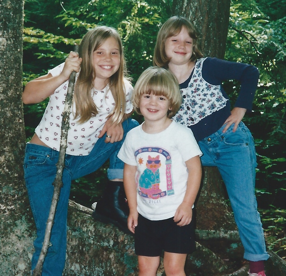 The Lovejoy siblings (my brother Allen's children): Leslie, Paige, Allie, about 1996