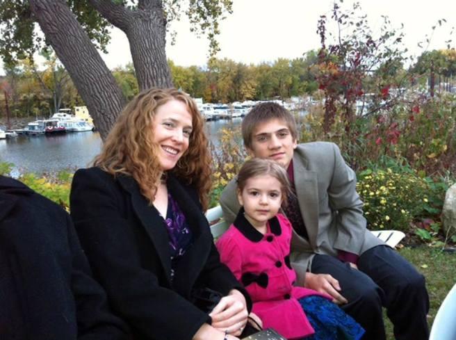 Keriazakos/Jacobs siblings: Their mother, Maria (Sweet) Jacobs (my niece) is pictured with Grace Jacobs (age 4)  & Nicholas Keriazakos (age 17), spring 2014