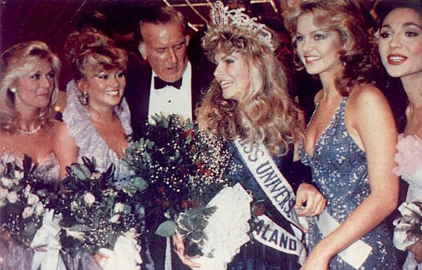 Miss New Zealand wins Miss Universe contest. Note the hairstyles!