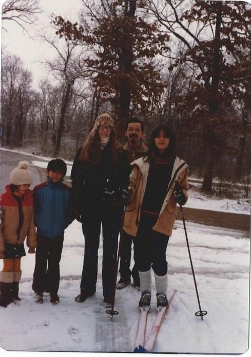 Betsy, John, Katy, Fernando & Claudia Alvarez-winter 1983. Claudia wanted to go cross country skiing!