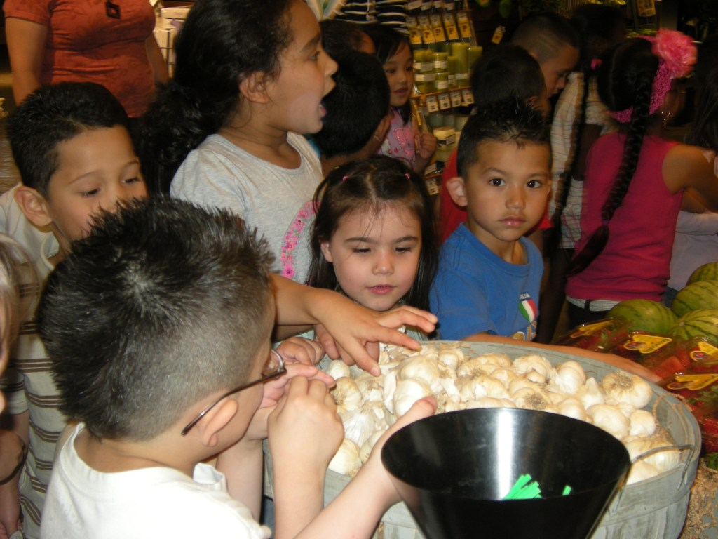 Children examine a barrel of garlic on a field trip to a supermarket.