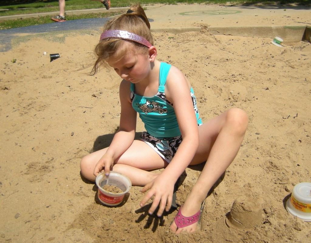 Beach Day - kids went out to play in the sandbox.