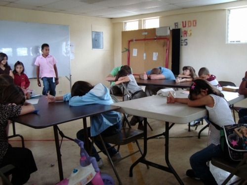 Heads Up Seven Up in a classroom