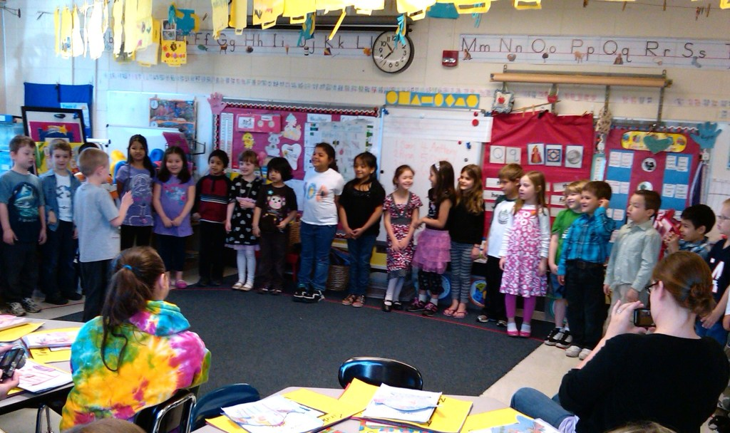 Mother's Day Tea: A.M. Kindergarten sings a song for their mothers.