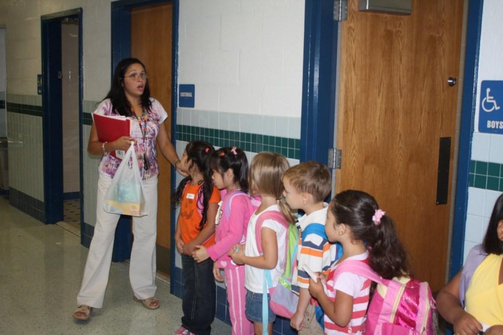 kindergartners in hallway