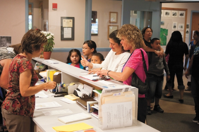 A busy school office