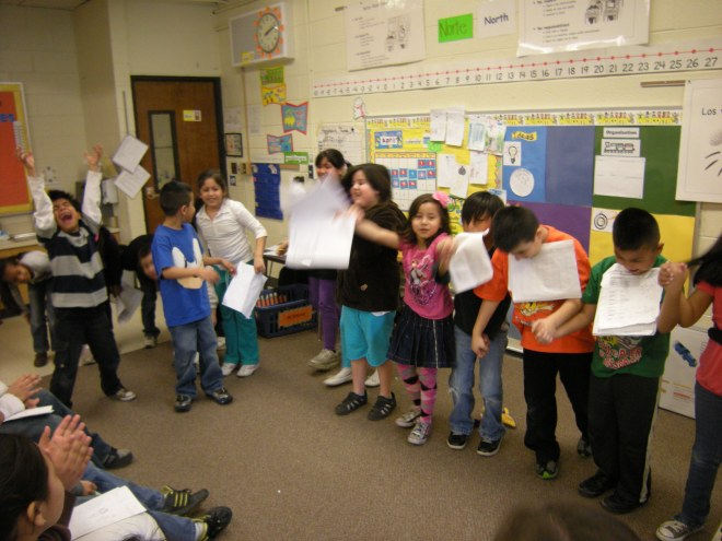 Taking a bow! This performance was for our class's fifth grade reading buddies.