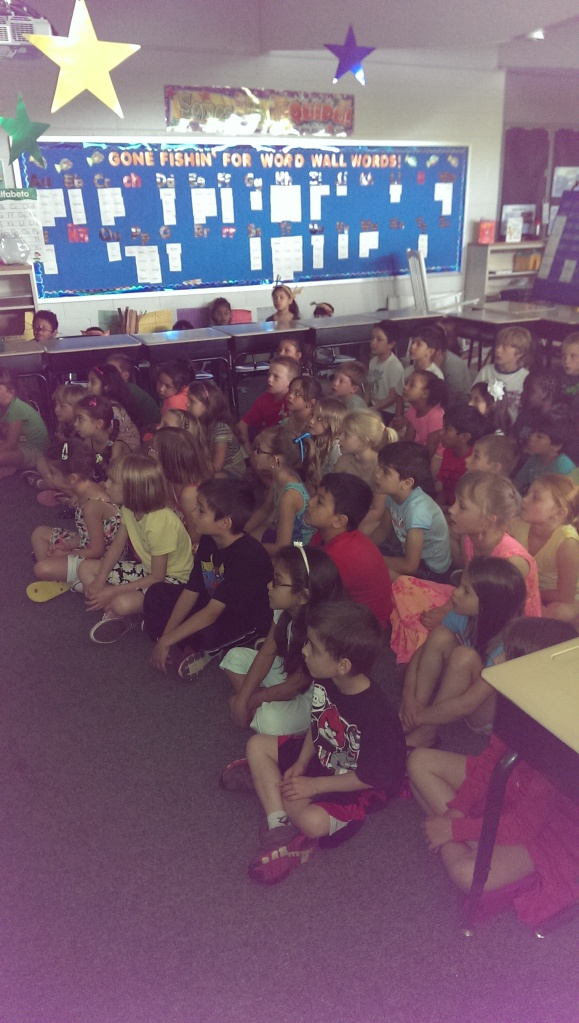 The other first grade classes were the audience for the first performance.