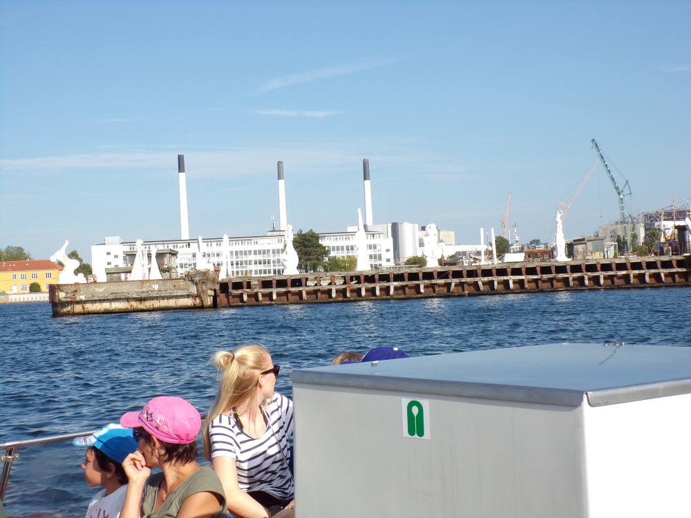 The smoke stacks visible in the background are no longer in use - it was a power plant but Denmark is converting to wind and solar energy.